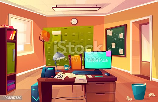 istock Vector cartoon cabinet of private detective, policeman 1205257630