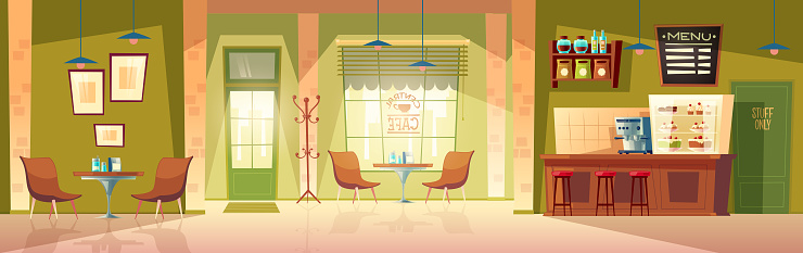 Vector cartoon cafe background, cafeteria interior, room