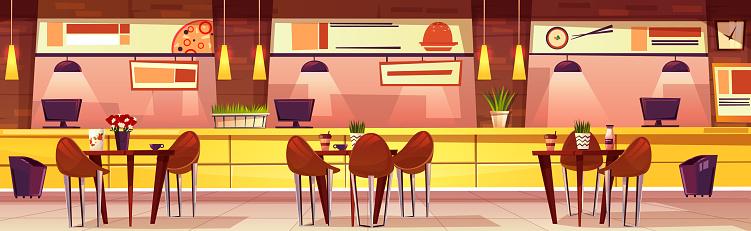 Vector cartoon cafe with various cuisine, background