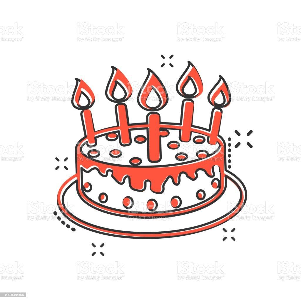Vektorcartoonkuchen Mit Kerzesymbol Im Comicstil Pie Zeichen