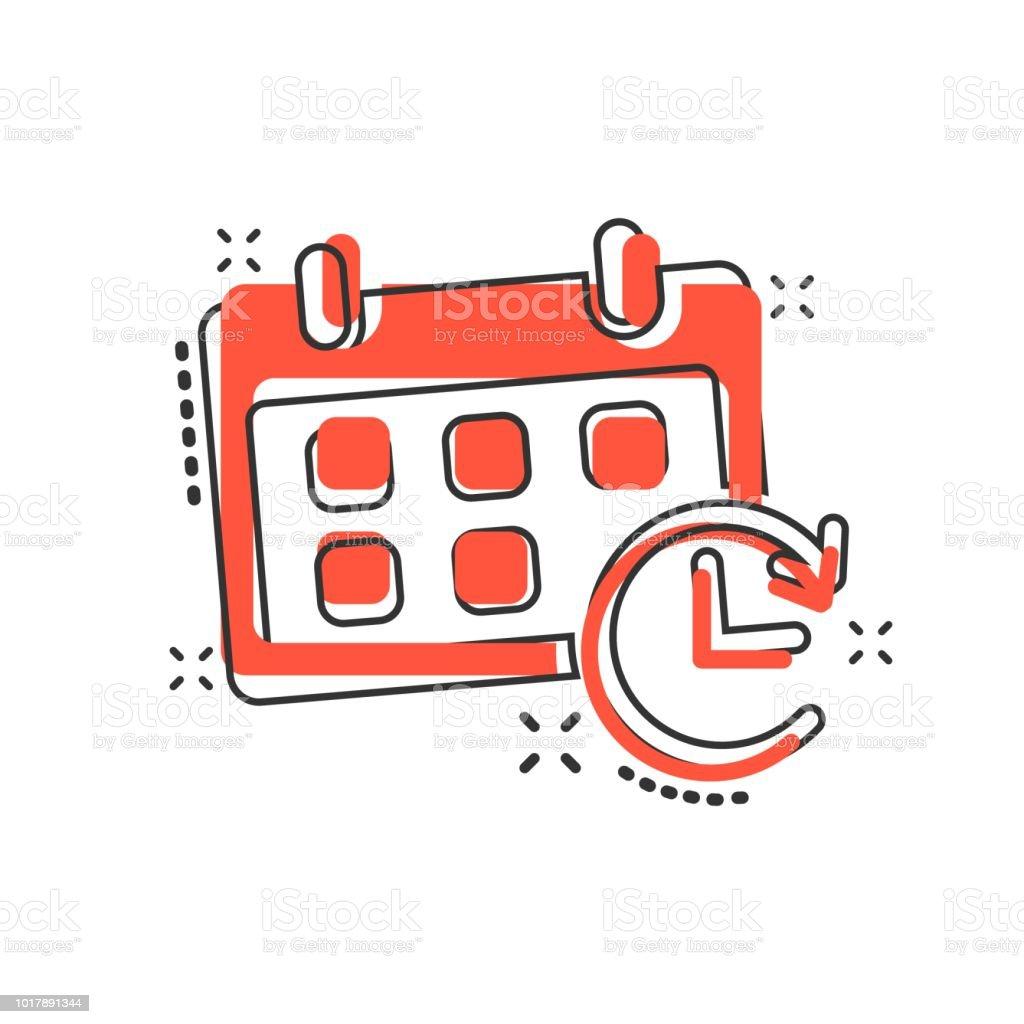 Calendario Vector.Ilustracion De Icono De Calendario De Dibujos Animados Vector De Estilo Comic Agenda Recordatorio Firma Pictograma De Ilustracion Concepto De Efecto
