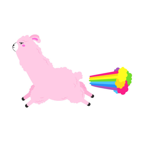 illustrazioni stock, clip art, cartoni animati e icone di tendenza di vector cartoon card. cute poster with funny llama farting. doodle illustration. template, background for print, design. - pezze di stoffa