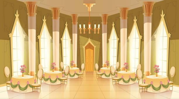 ilustrações de stock, clip art, desenhos animados e ícones de vector cartoon castle hall, ballroom for dancing - muita comida