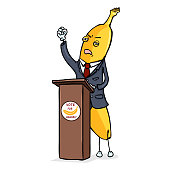 Vector Cartoon Character - Yellow Banana Politician Performing with Emotional Speech