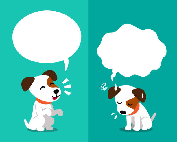 ilustrações de stock, clip art, desenhos animados e ícones de vector cartoon character cute jack russell terrier dog expressing different emotions with speech bubbles - deceção