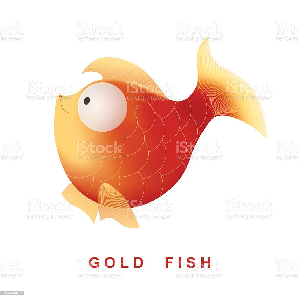 Vector cartoon character gold fish. Isolated on the white background. vector art illustration