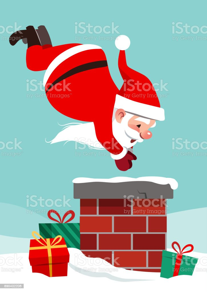 Vector cartoon character illustration of Santa Claus on roof in mid air, diving into chimney, with boxed gifts lying around in snow. Funny humorous Christmas holiday design element in flat style. vector art illustration