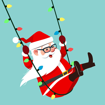 Vector cartoon character illustration of Santa Claus swinging on a string of colorful Christmas lights, isolated on aqua blue background. Funny humorous Christmas holiday design element in flat style.