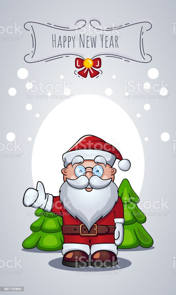 Vector Cartoon Character Of Santa Claus As Christmas Greeting Card With  Congratulations. New Year Message