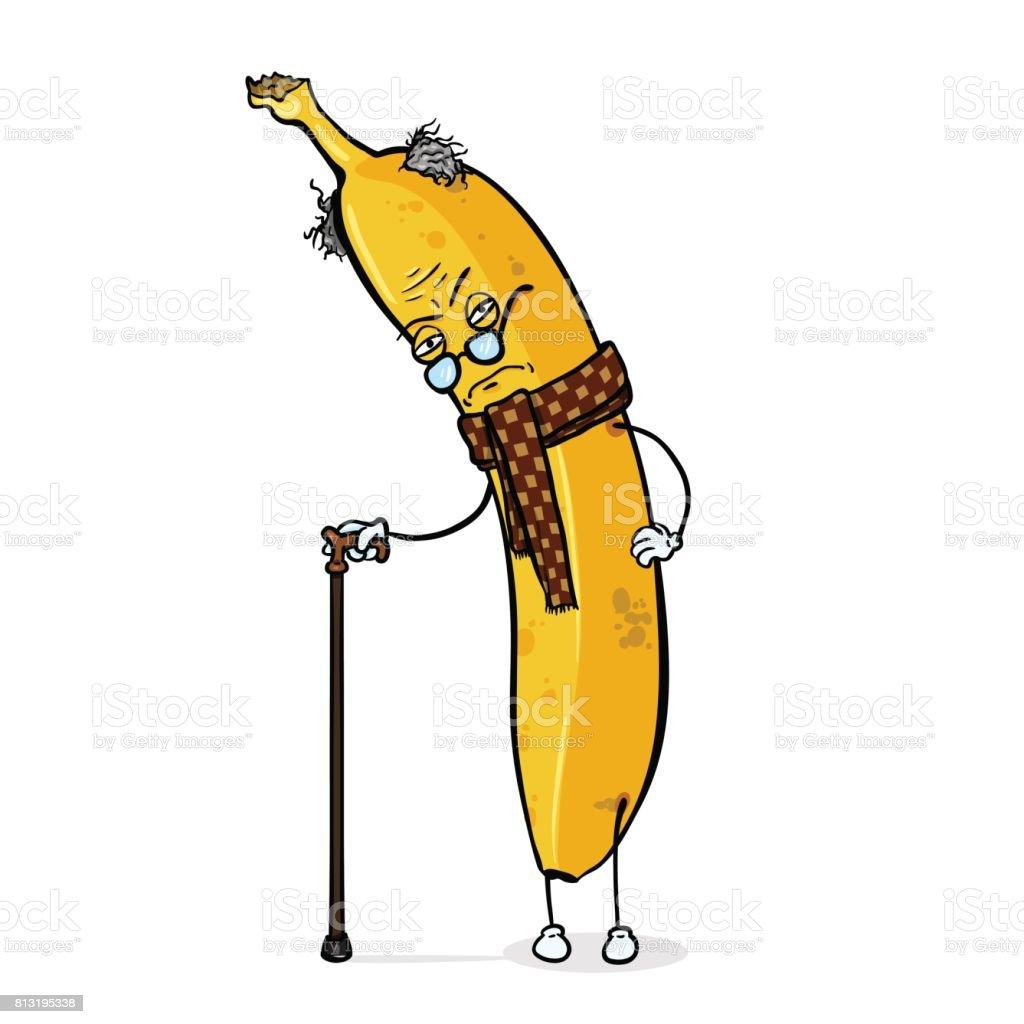 Vector Cartoon Character - Old Grouchy Banana vector art illustration