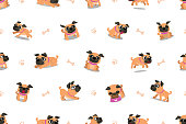 Vector cartoon character pug dog seamless pattern for design.