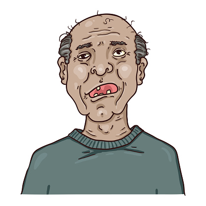 Vector Cartoon Character - Toothless Old Man.