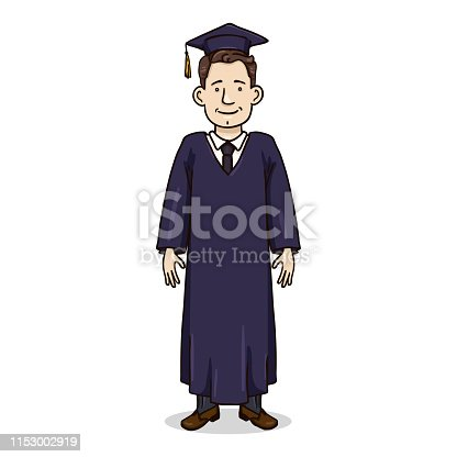 Vector Cartoon Character - White Young Man in Dark Blue Graduation Gown and Academic Hat