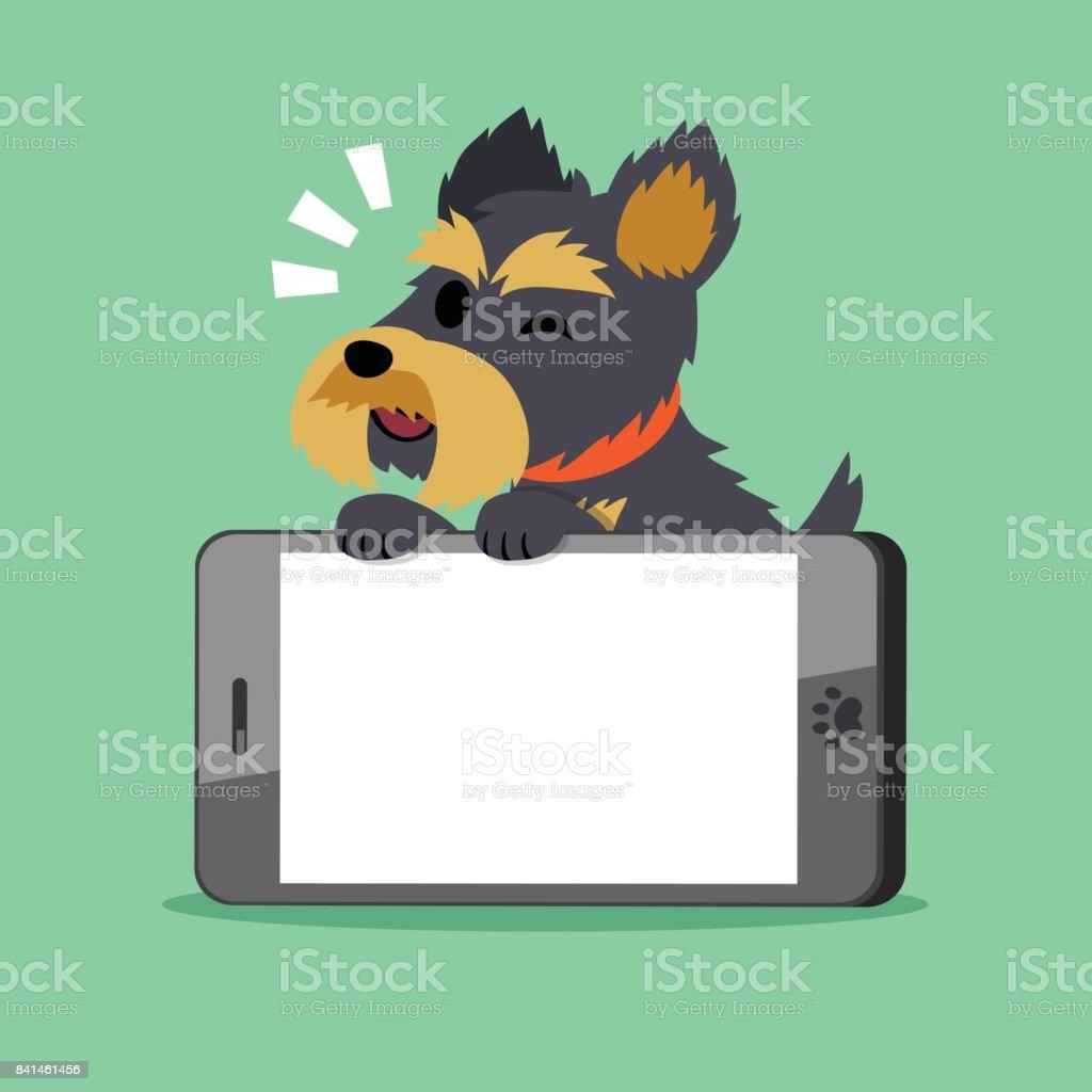 Vector cartoon character yorkshire terrier dog and big smartphone
