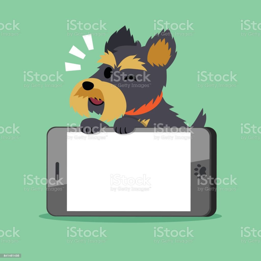 Vector cartoon character yorkshire terrier dog and big smartphone vector art illustration