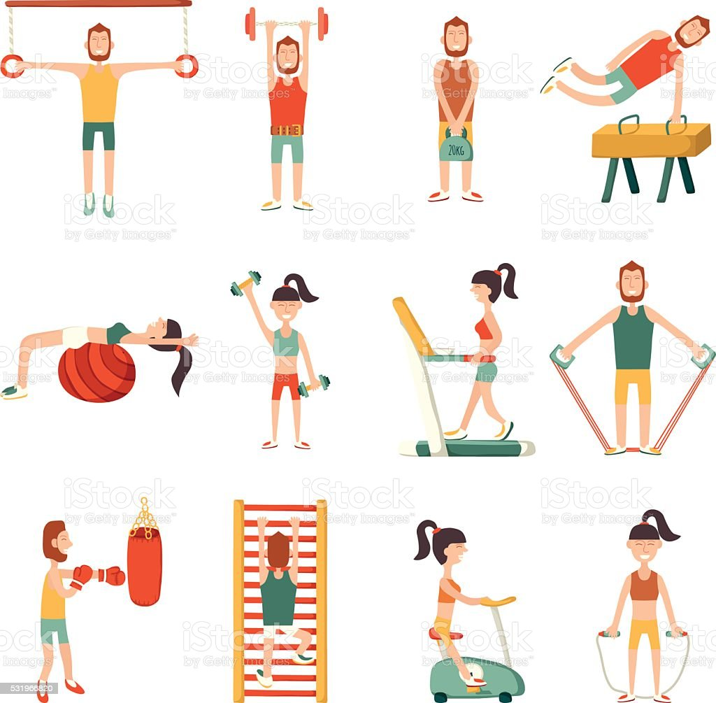 Vector cartoon characters with gym equipment vector art illustration