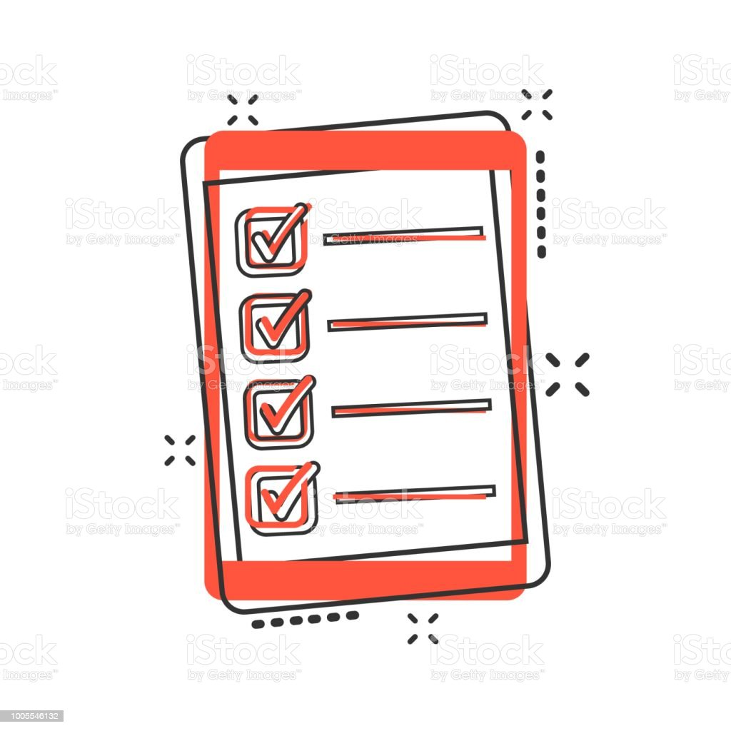 Vector cartoon checklist with tablet icon in comic style. Checklist, task list sign illustration pictogram. To do list business splash effect concept. vector art illustration
