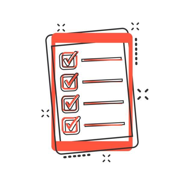 illustrazioni stock, clip art, cartoni animati e icone di tendenza di vector cartoon checklist with tablet icon in comic style. checklist, task list sign illustration pictogram. to do list business splash effect concept. - to do list