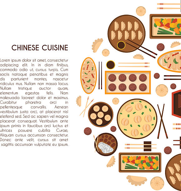Vector cartoon chinese cuisine food background Vector illustration with cartoon cute chinese cuisine food: chicken kung pao, wonton soup, chow mein, mantons. Traditional chinese food. Restaurant, cafe menu background. Cartoon food plate, top view american pekin duck stock illustrations