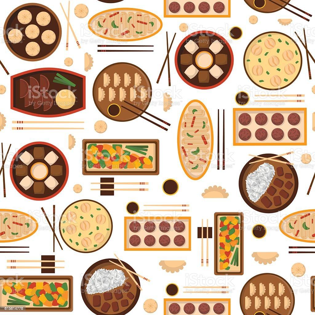 Vector cartoon chinese cuisine food background ベクターアートイラスト