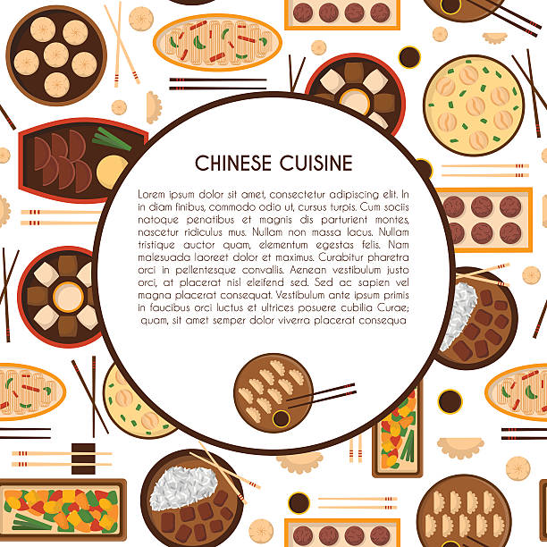 Vector cartoon chinese cuisine food Vector illustration with cartoon cute chinese cuisine food: chicken kung pao, wonton soup, chow mein, mantons. Traditional chinese food. Great for restaurant, cafe menu. Cartoon food plate, top view american pekin duck stock illustrations