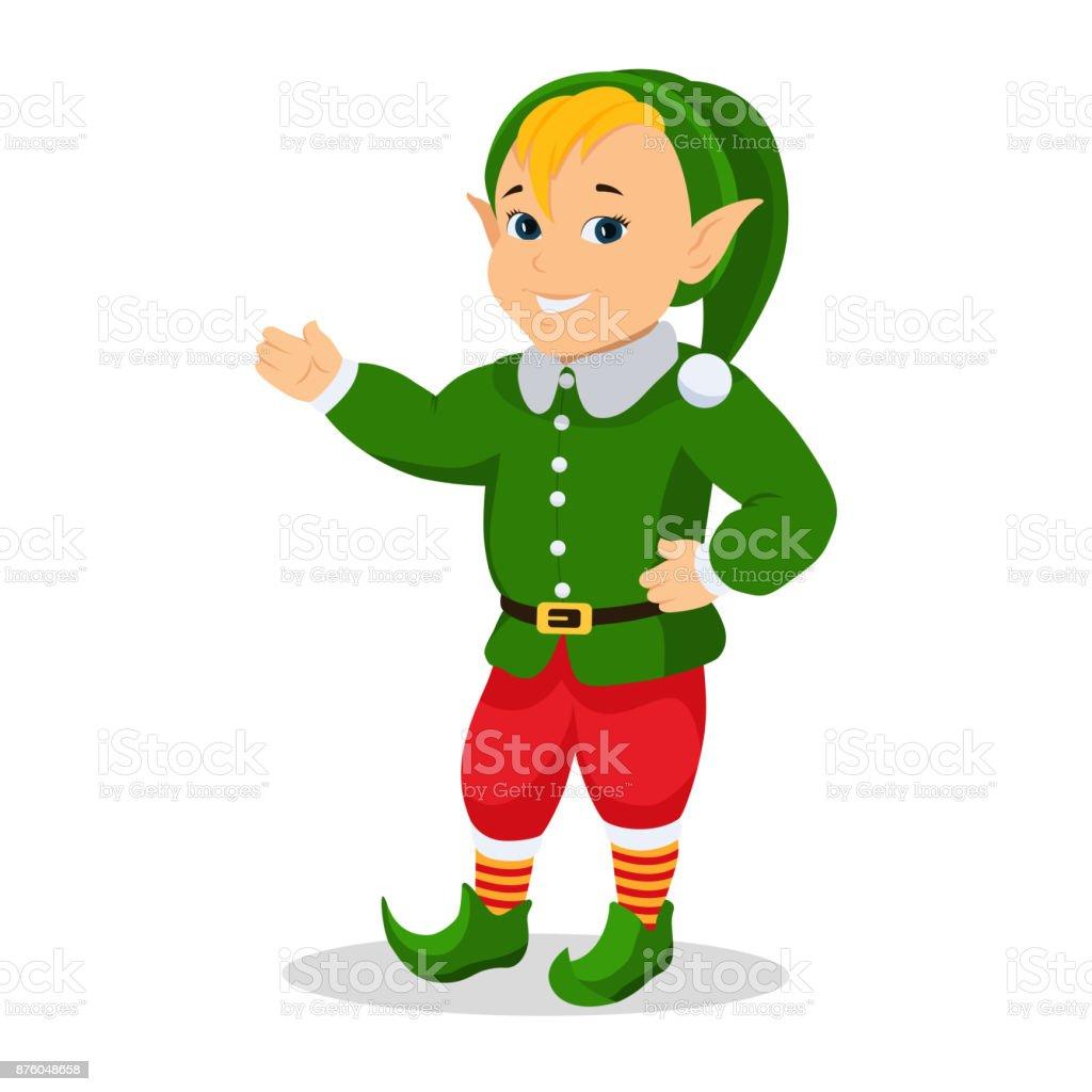 Vector Cartoon Christmas Elf Stands With Hands Stock Vector Art ...