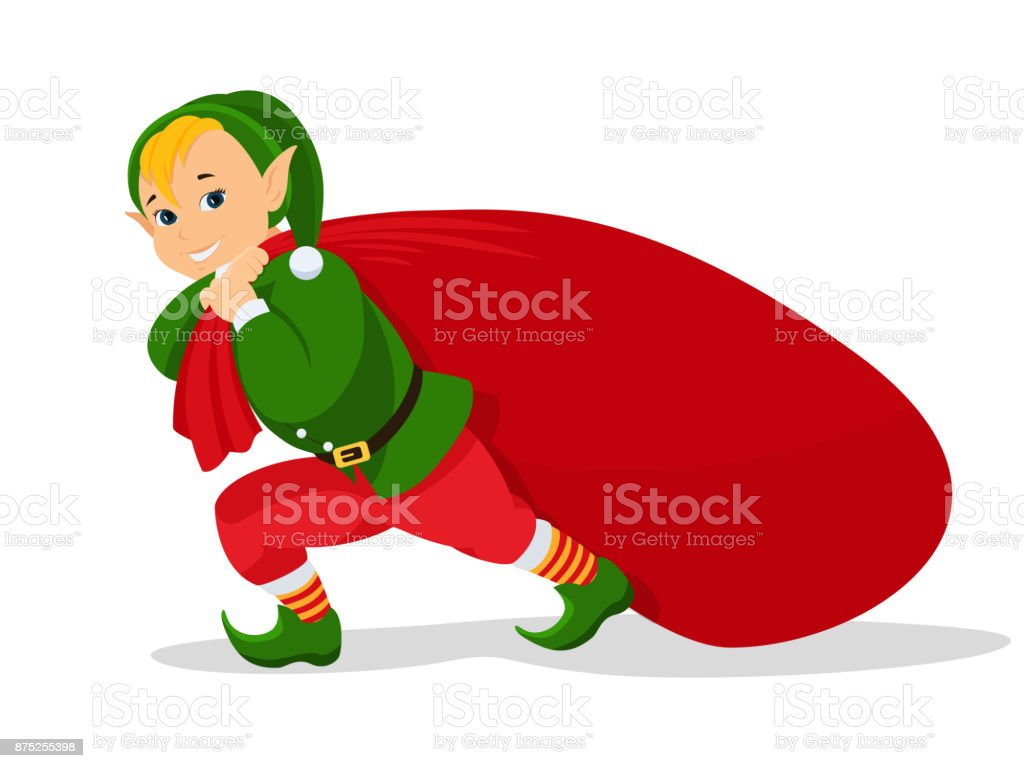 Vector cartoon christmas elf with bag for gifts vector art illustration