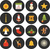 Vector cartoon Christmas, New Year icons
