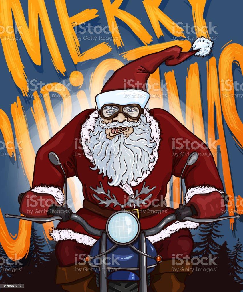 Vecteur De Dessin Animé Noël Carte Postale Le Père Noël à Moto