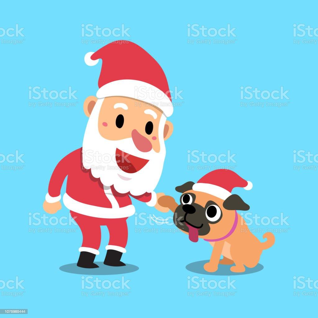 Mops Bilder Weihnachten.Vector Cartoon Weihnachten Weihnachtsmann Mit Mops Hund Stock Vektor Art Und Mehr Bilder Von Alt