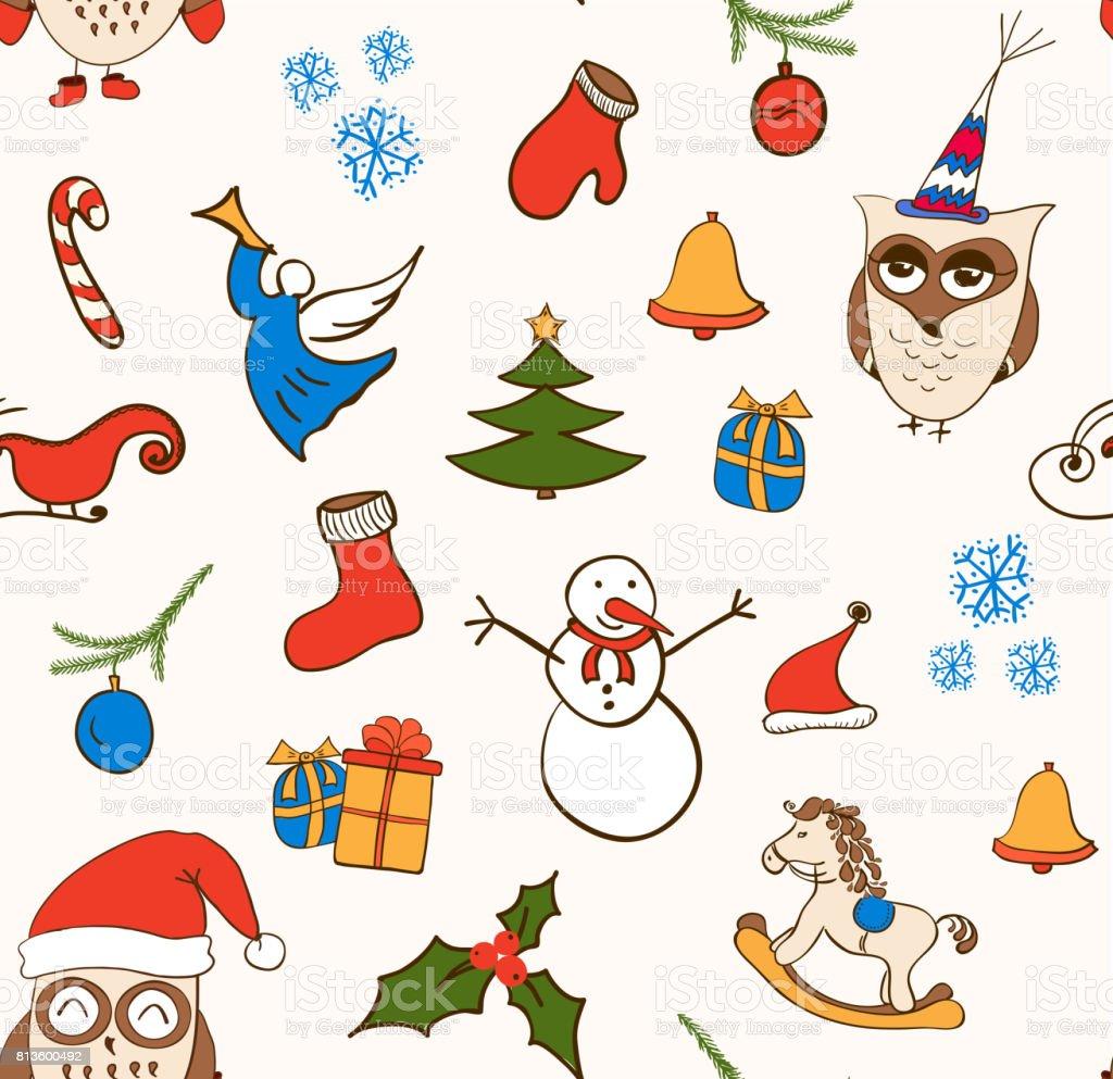 Vector Cartoon Weihnachten Musterdesign Mit Schneemann Eulen ...