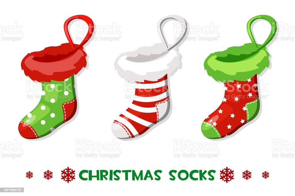 Vector Cartoon Weihnachten Socken Neujahr Symbole Stock Vektor Art ...