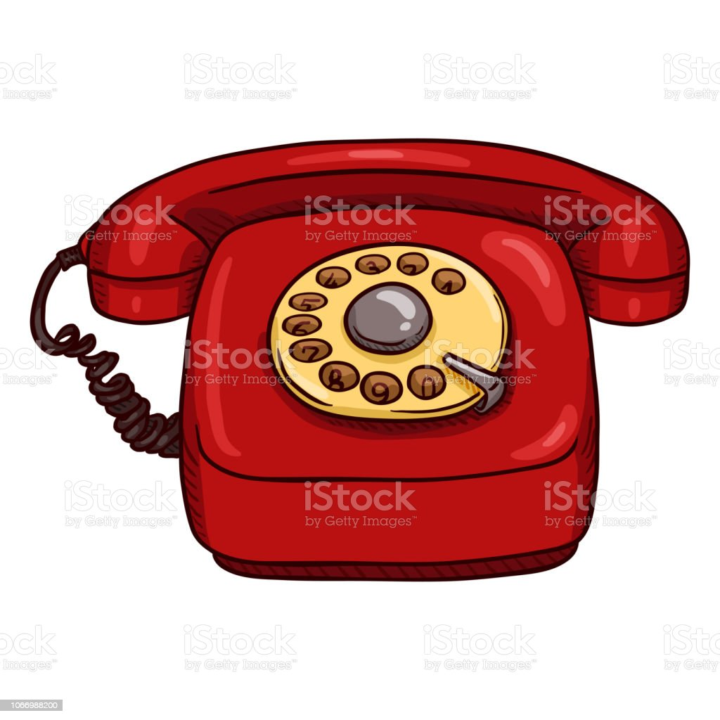 Vector Cartoon Classic Red Rotary Telephone vector art illustration