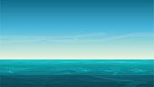 Vector cartoon clear ocean sea background with empty blue sky