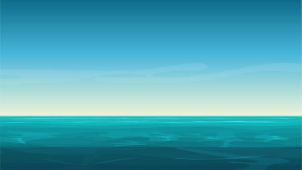 kreskówka wektora jasne morze oceanu tła z pustym błękitnym niebem. - horyzont stock illustrations