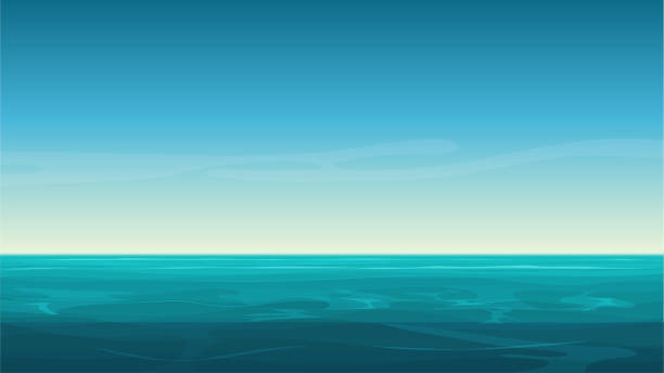 vector cartoon clear ocean sea background with empty blue sky. - horyzont stock illustrations