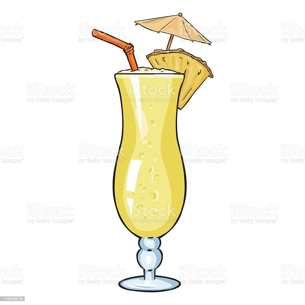 vector cartoon cocktail pinot colada with pineapple umbrella and