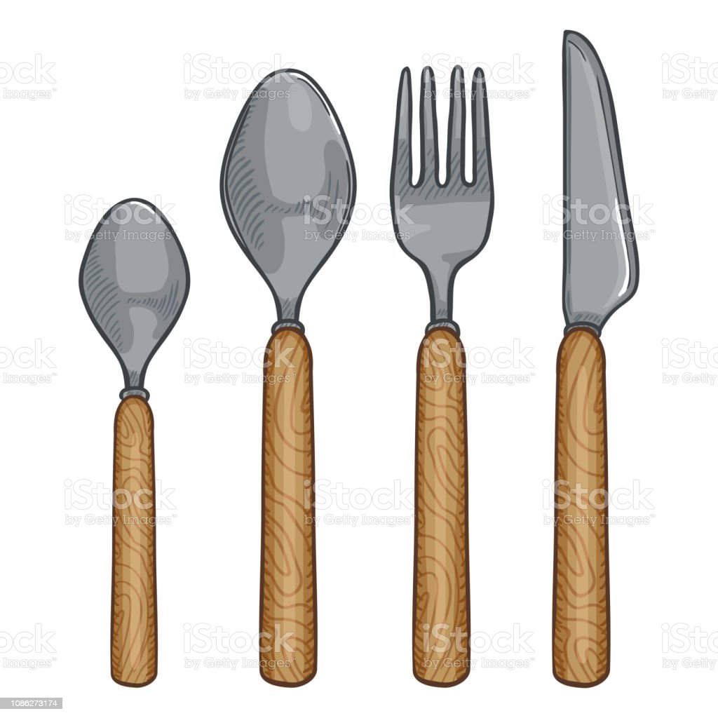 Vector Cartoon Color Set of Cutlery with Wooden Handles. Knife, Fork, Spoon, Tea-spoon vector art illustration