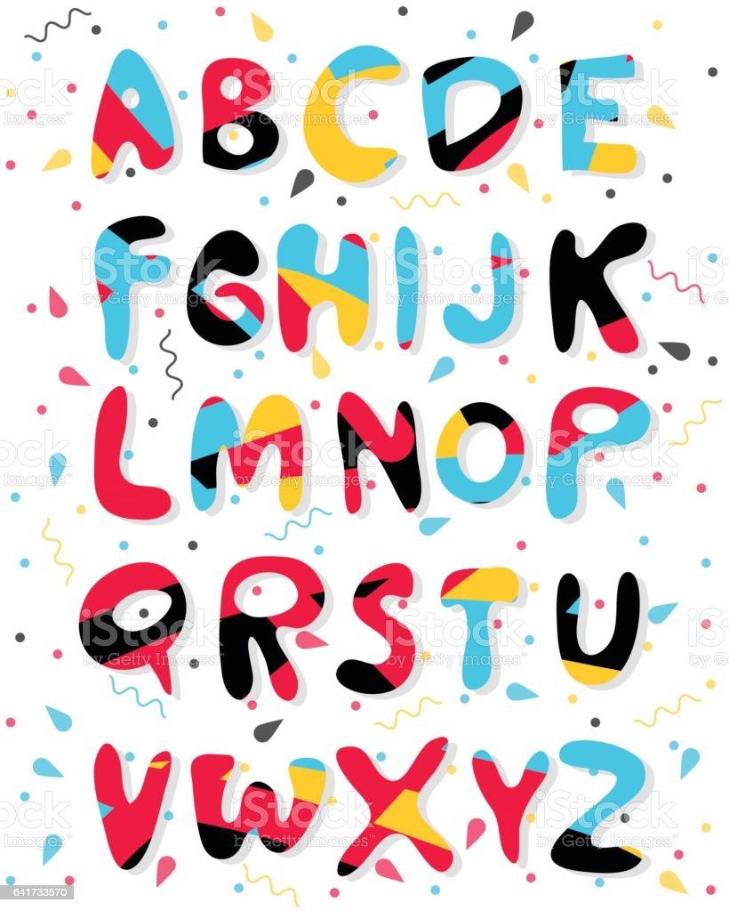 Ilustración De Alfabeto Color De Dibujos Animados De Vector Letras