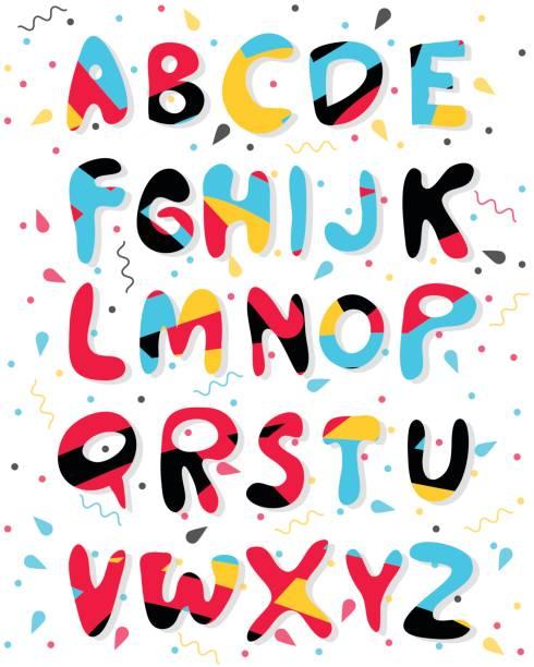 ilustraciones, imágenes clip art, dibujos animados e iconos de stock de alfabeto color de dibujos animados de vector. letras gráficas para papel, web, diseño de juegos. - tipos de letra de historietas