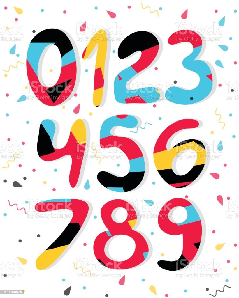 Dibujos animados de vector números de colores. Números de gráfico para papel, web, diseño de juegos. - ilustración de arte vectorial