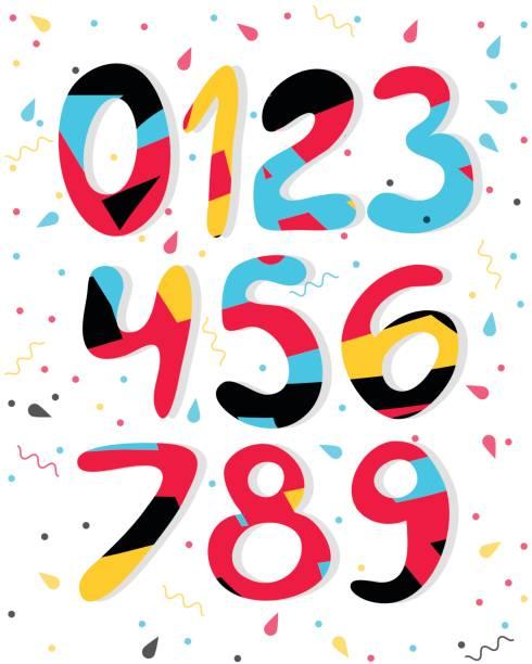 ilustraciones, imágenes clip art, dibujos animados e iconos de stock de dibujos animados de vector números de colores. números de gráfico para papel, web, diseño de juegos. - tipos de letra de historietas