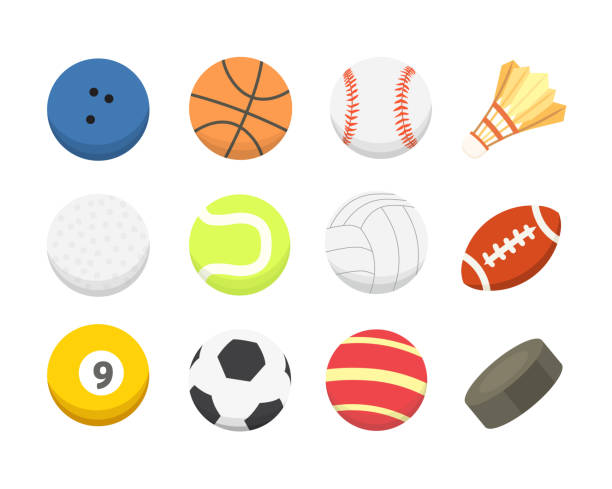 stockillustraties, clipart, cartoons en iconen met vector cartoon kleurrijke bal set. sport balls iconen geïsoleerd - sfeer
