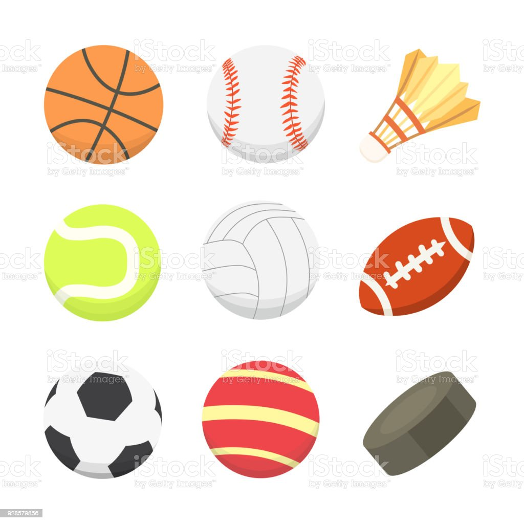 Vector Cartoon Colorful Ball Set Sport Balls Icons Isolated Stock Illustration Download Image Now Istock