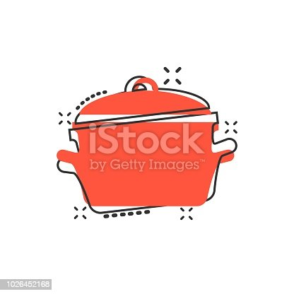 Vector cartoon cooking pan icon in comic style. Kitchen pot concept illustration pictogram. Saucepan equipment business splash effect concept.