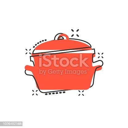 istock Vector cartoon cooking pan icon in comic style. Kitchen pot concept illustration pictogram. Saucepan equipment business splash effect concept. 1026452168