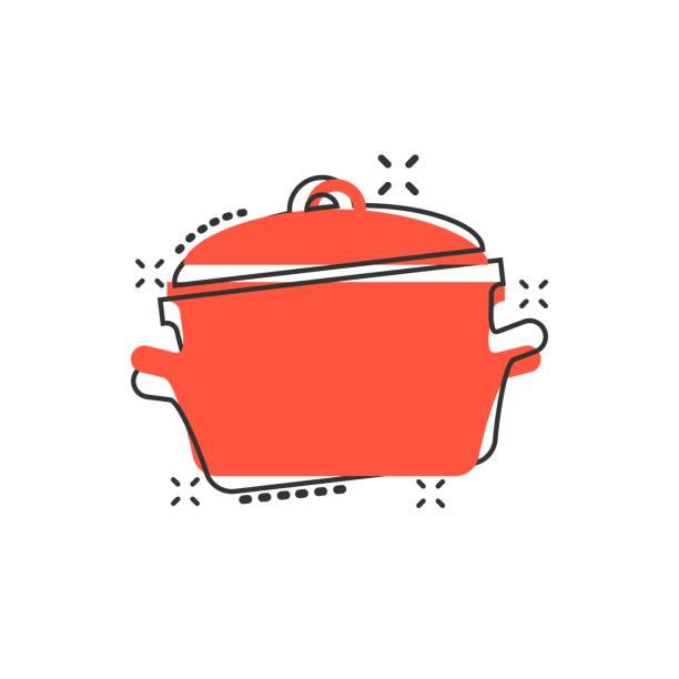ilustrações de stock, clip art, desenhos animados e ícones de vector cartoon cooking pan icon in comic style. kitchen pot concept illustration pictogram. saucepan equipment business splash effect concept. - caçarola