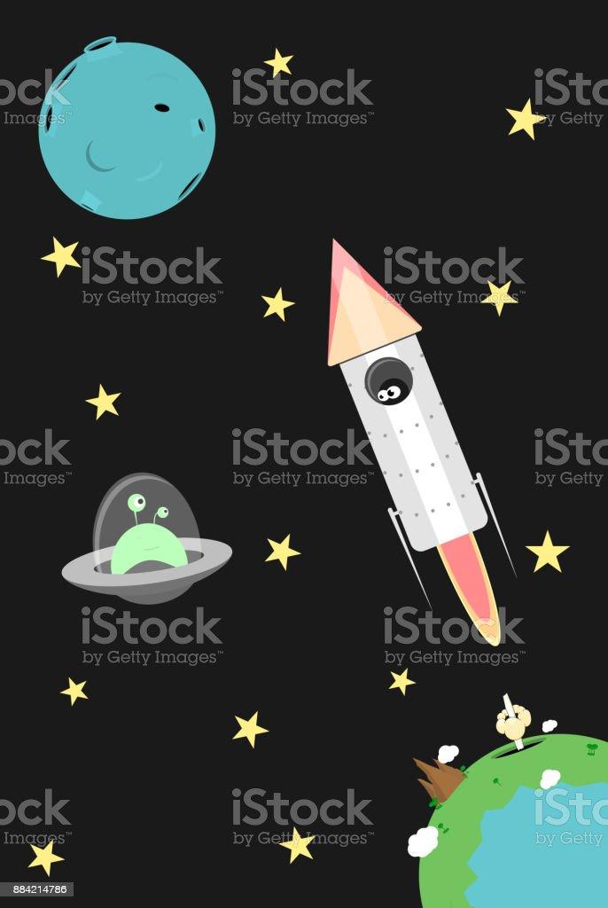 Vector cartoon cosmos illustration vector art illustration