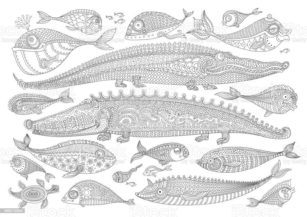 Vektorcartoonkrokodil Fisch Schildkröte Schwarz Weiß Doodle Hand ...