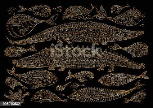 Vector cartoon crocodile, fish, turtle doodle. Hand drawn golden sketch, black background. Zen tangle henna tattoo drawing. Humorous nautical character set, page fill.Batik paint, tee shirt print